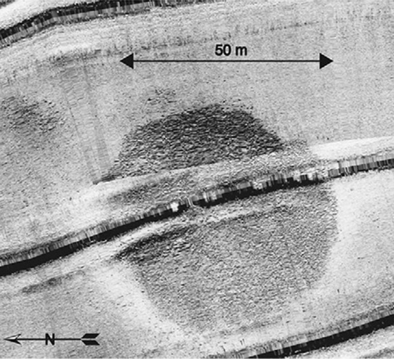 The circular structure was first detected in a sonar survey of part of the sea in the summer of 2003. Image courtesy Shmuel Marco