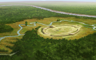 Artsists conception of Watson Brake, an archaeological site in Ouachita Parish, Louisiana that dates from the Archaic period. The oldest earthwork in North America, it was built and occupied 3500 BCE, approximately 5400 years ago.